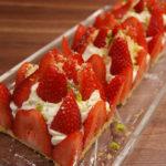 Tarte sablé aux fraises, chantilly pistache
